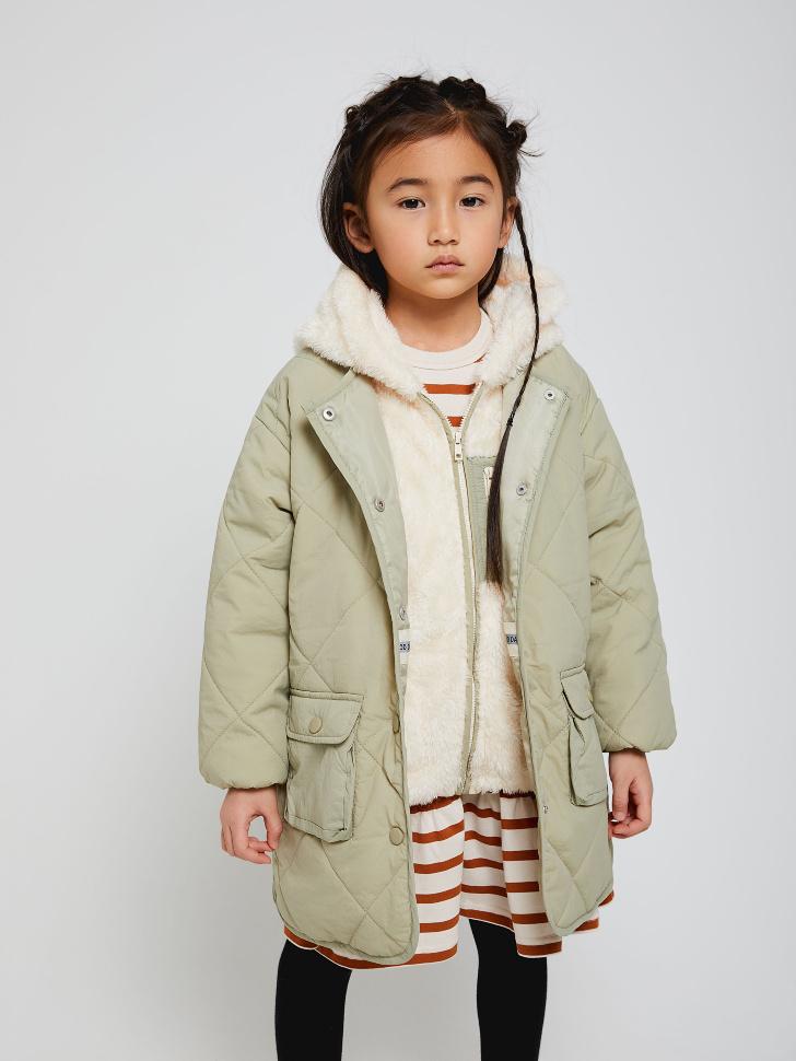Пальто со съемной толстовкой для девочек (зеленый, 110/ 5-6 YEARS)