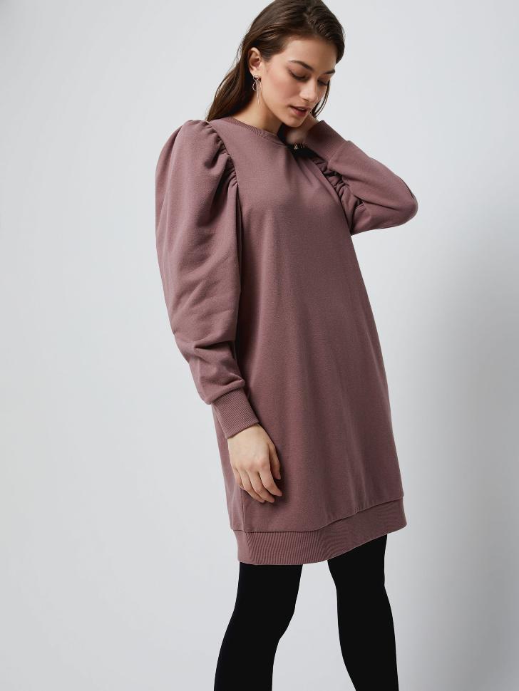 Трикотажное платье с пышными рукавами (коричневый, L)