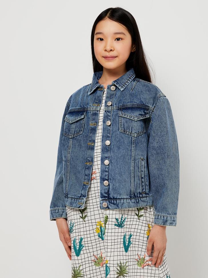 Джинсовая куртка с вышивкой для девочек (синий, 140/ 10-11 YEARS)
