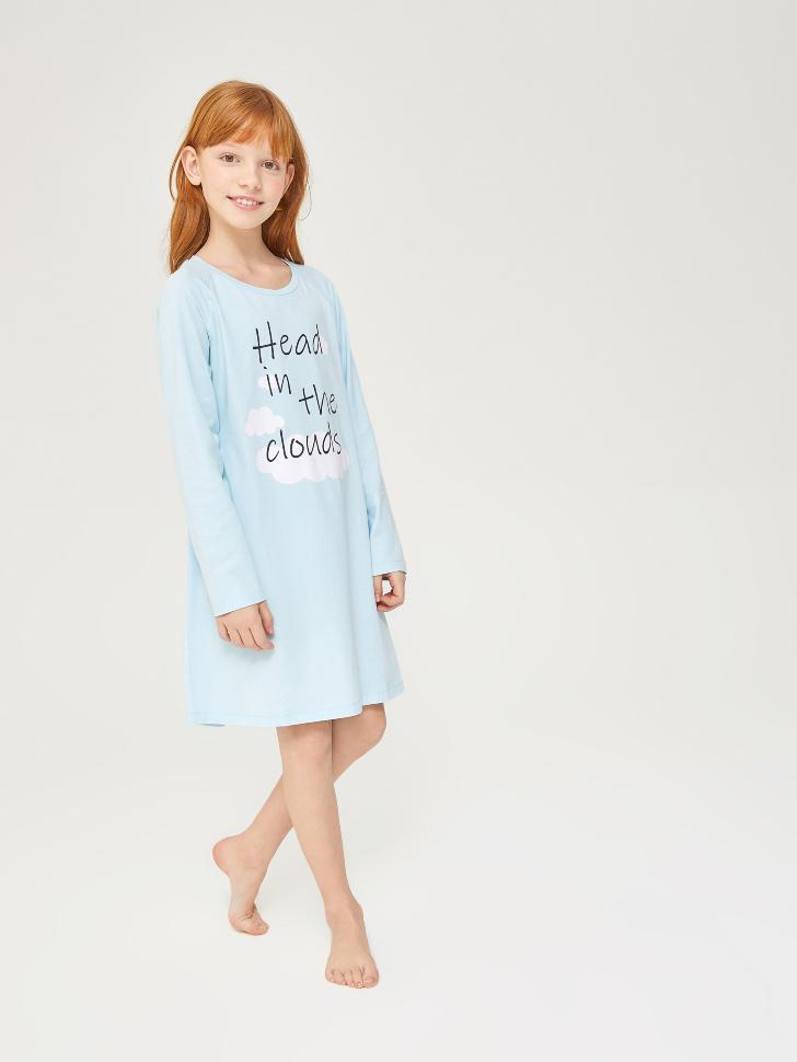 Купить со скидкой трикотажная ночная сорочка для девочек (голубой, 146-152 (12-13 YEARS))