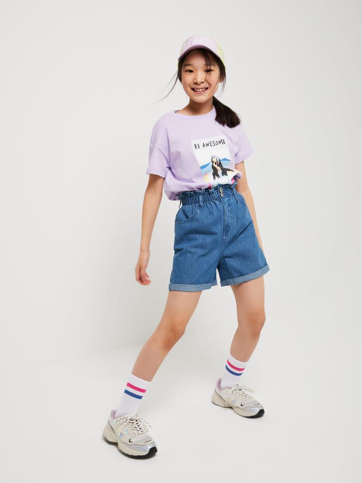 шорты джинсовые для девочек (голубой, 140/ 10-11 YEARS)