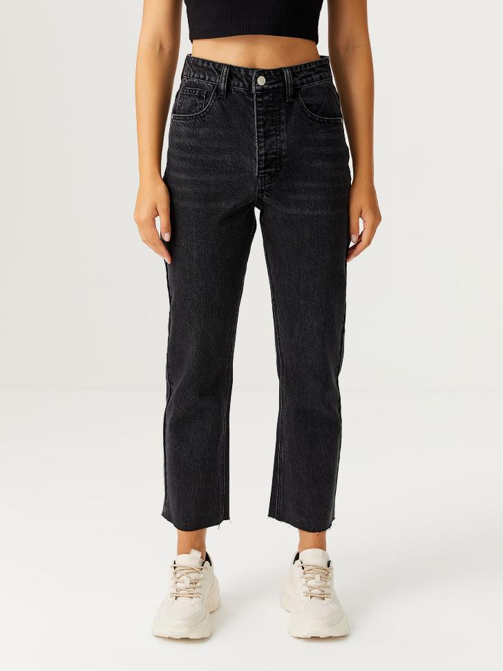 Прямые джинсы mom fit (черный, S)