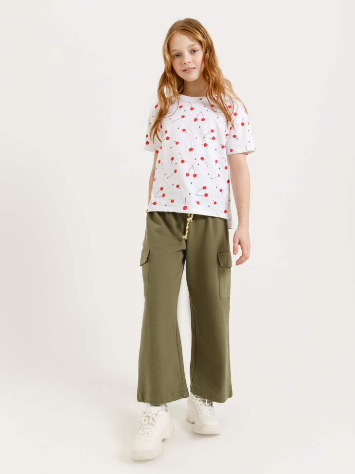 SELA Брюки с накладными карманами для девочек (зеленый, 122/ 7-8 YEARS)