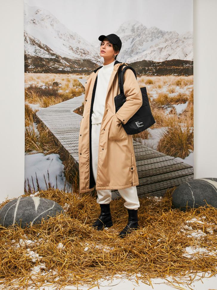 Пальто с капюшоном (бежевый, S)