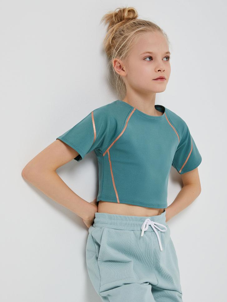Спортивная футболка для девочек (зеленый, XS (146-152))