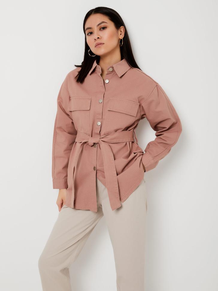 Рубашка с поясом (розовый, XS)