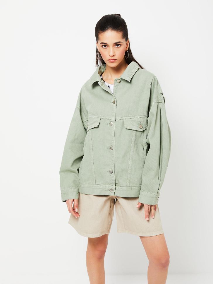 Джинсовая куртка оверсайз (зеленый, L)