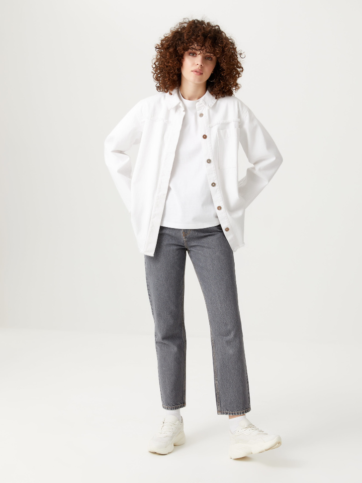 Базовые джинсы мом (серый, S)