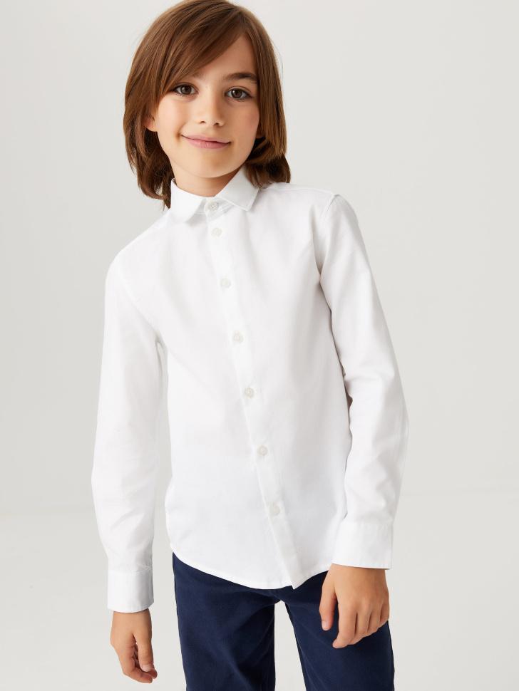 Школьная рубашка из фактурной ткани для мальчиков (белый, 128/ 8-9 YEARS)