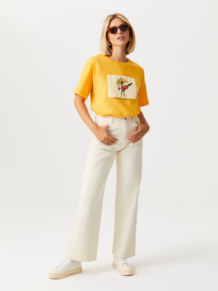 Прямые джинсы (белый, S)