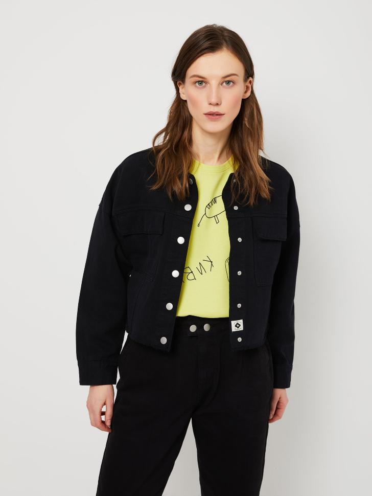 Джинсовая куртка из органического хлопка (черный, S)