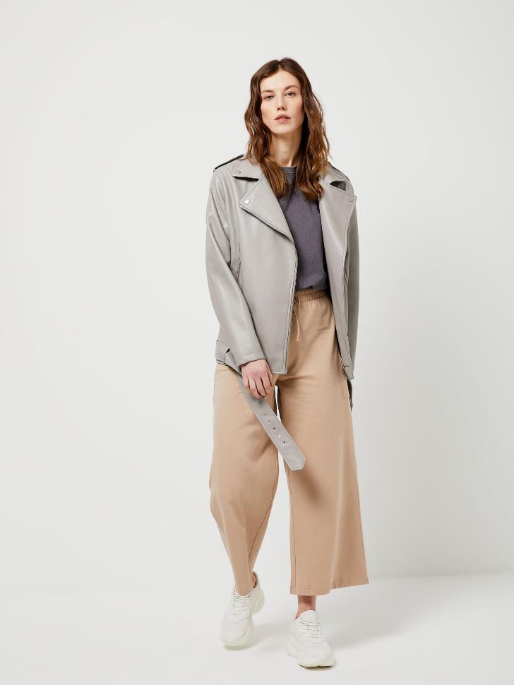 Укороченные брюки с карманом (бежевый, L)