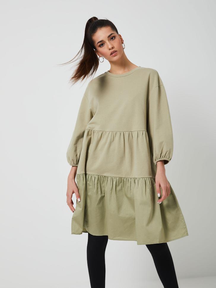 Ярусное платье (зеленый, XL)