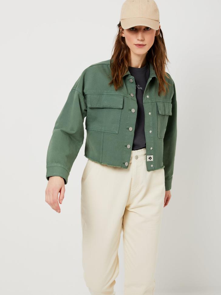 Джинсовая куртка из органического хлопка (зеленый, XS)