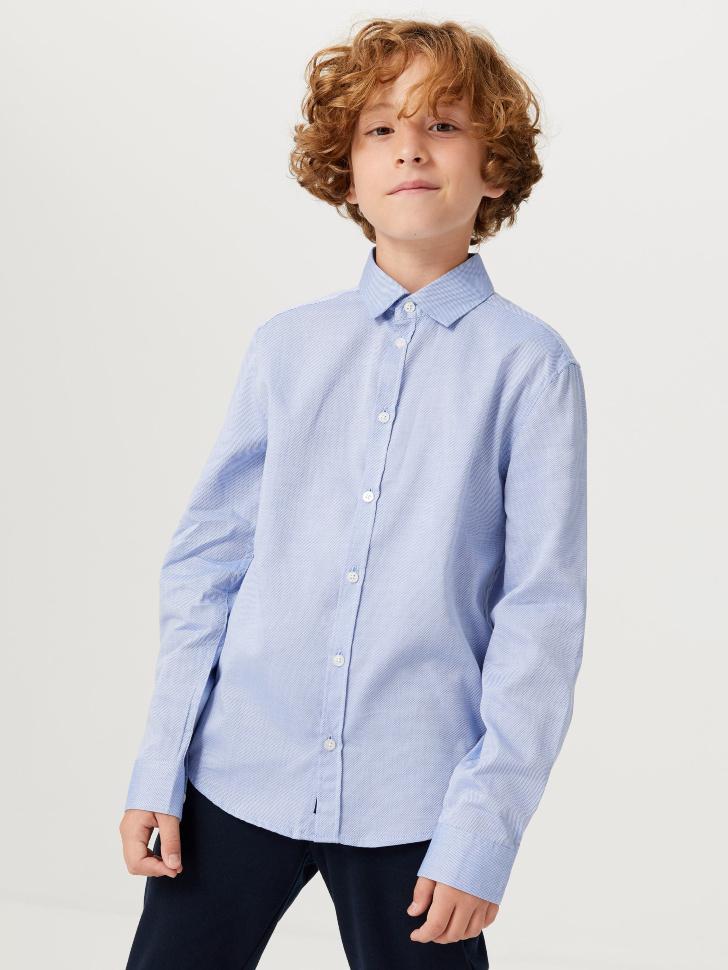 Школьная рубашка из фактурной ткани для мальчиков (голубой, 134/ 9-10 YEARS)