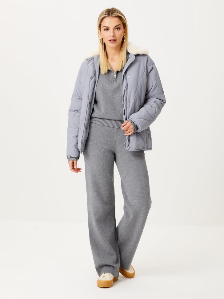 Широкие вязаные брюки (серый, XL)