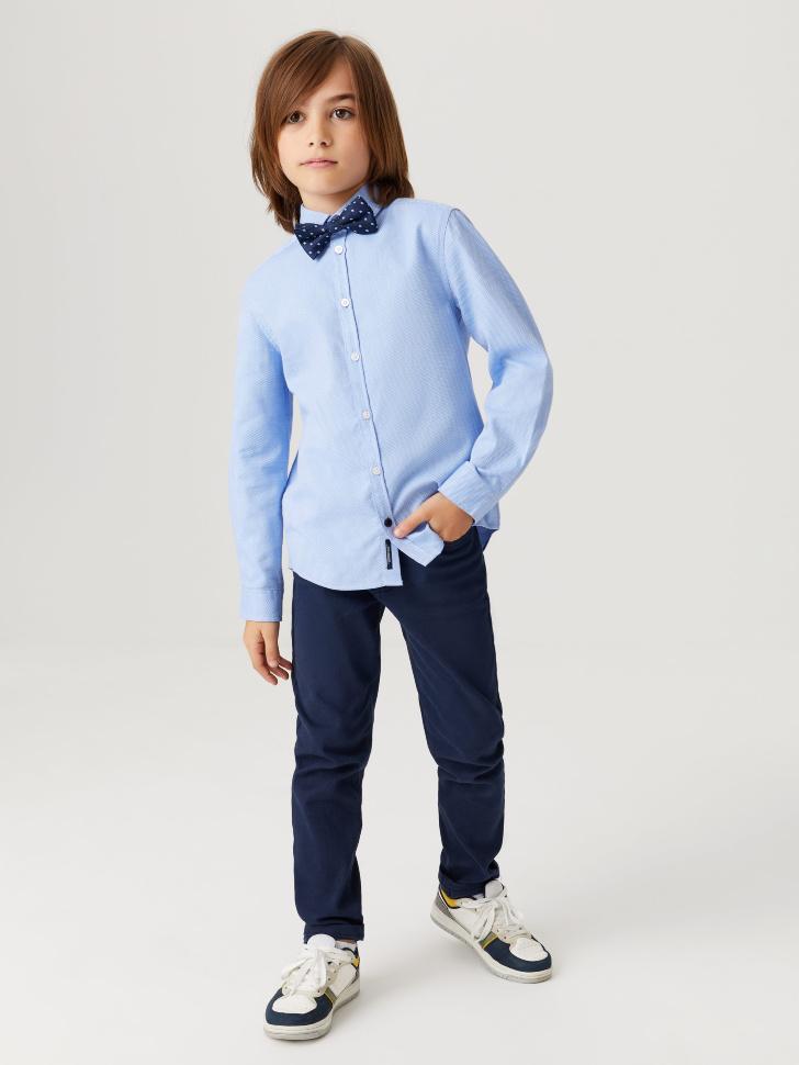 Школьная рубашка из фактурной ткани для мальчиков (голубой, 128/ 8-9 YEARS)