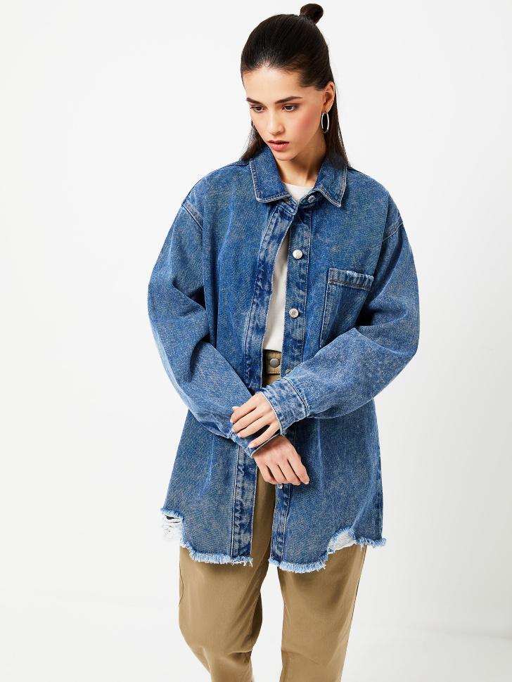 Удлиненная джинсовая рубашка (синий, L)