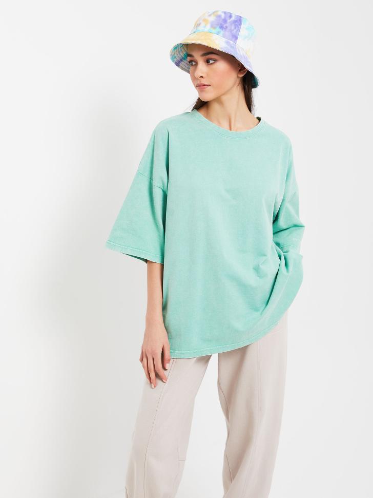 Удлиненная футболка оверсайз (зеленый, L)
