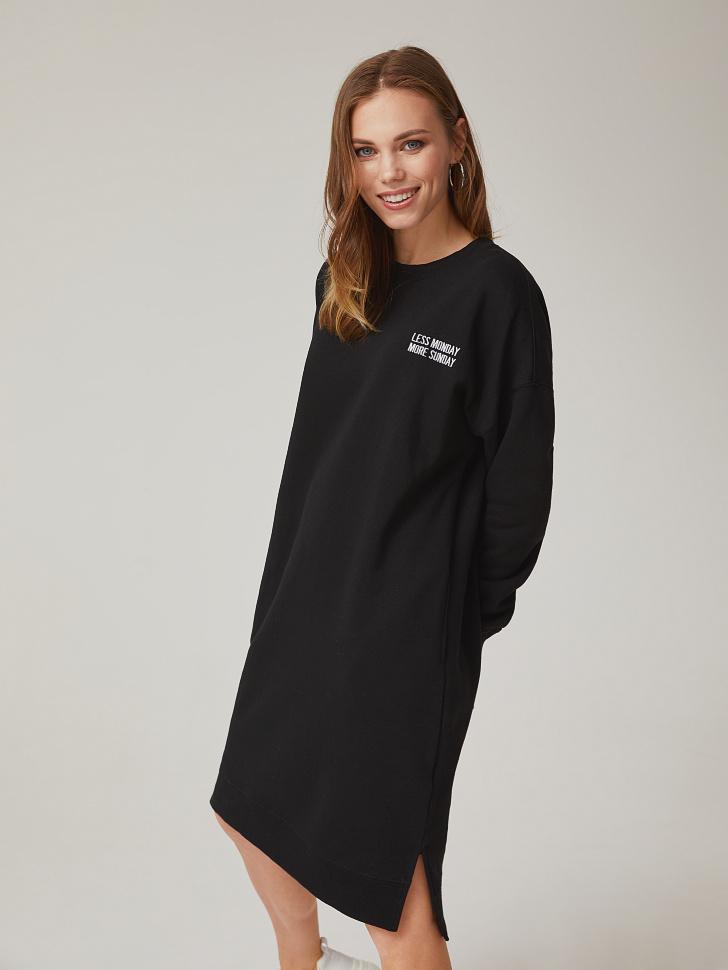 платье-толстовка с вышивкой (черный, XL)