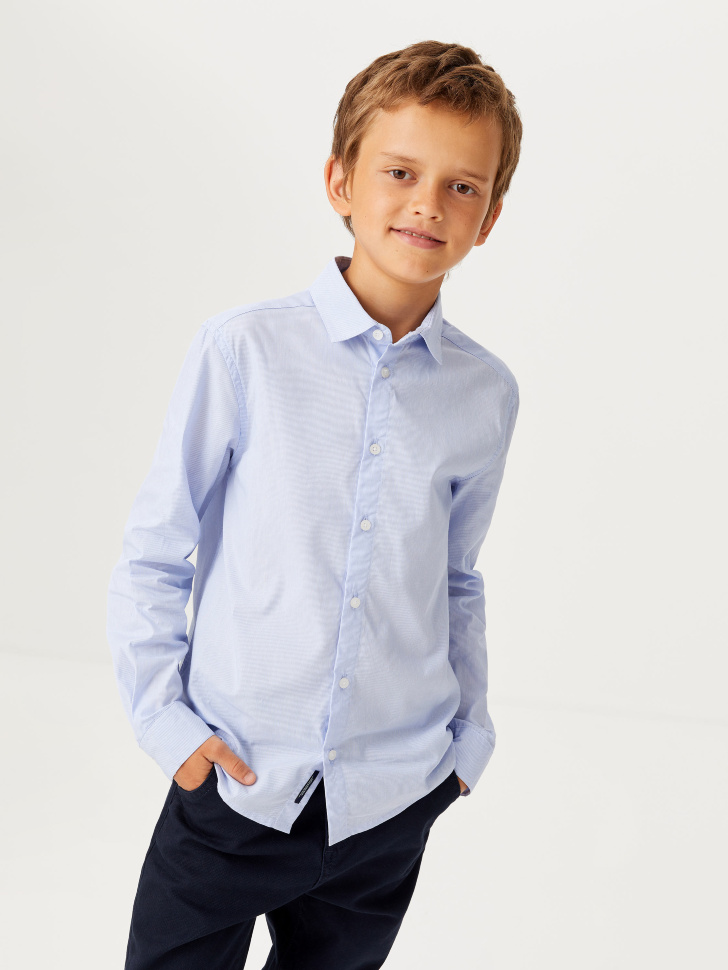 Школьная рубашка в полоску для мальчиков (голубой, 140/ 10-11 YEARS)