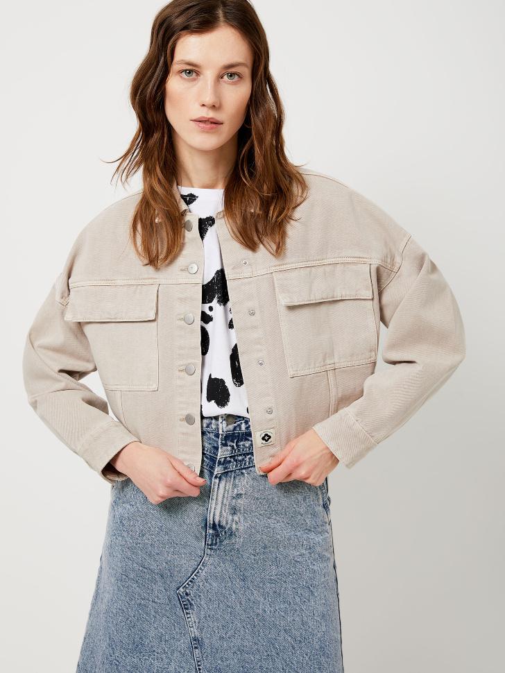 Джинсовая куртка из органического хлопка (белый, M)