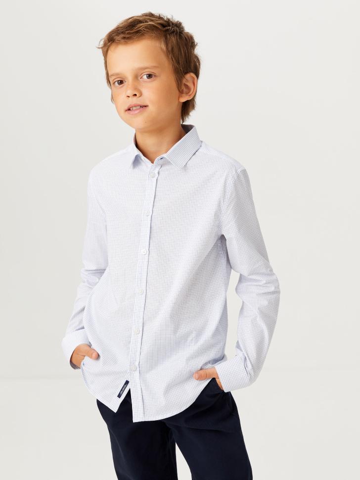Школьная рубашка в клетку для мальчиков (белый, 140/ 10-11 YEARS)