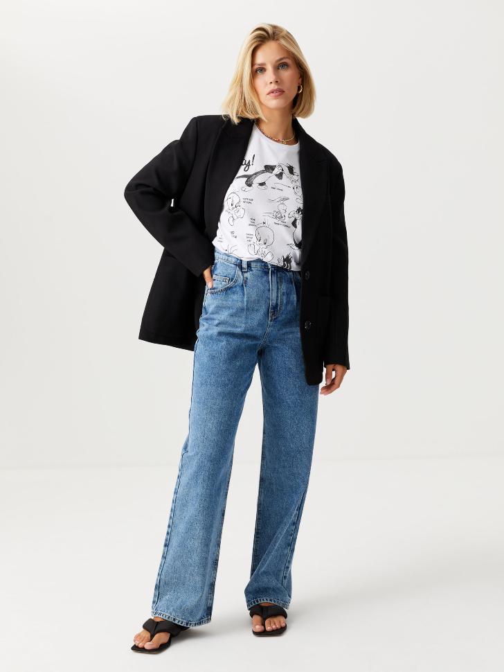 Широкие джинсы с защипами (синий, S)