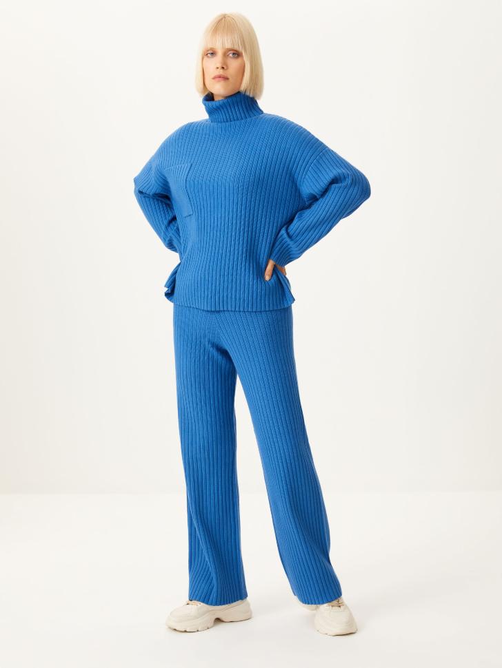 Вязаные брюки в рубчик (синий, L)
