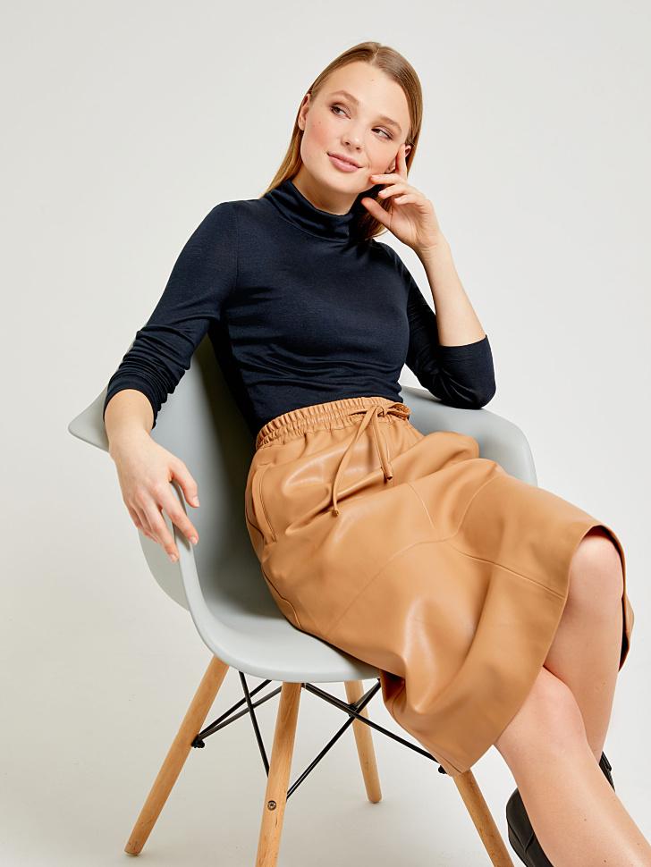 юбка из экокожи (коричневый, S)