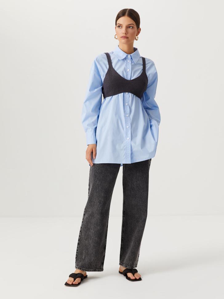 Широкие джинсы с защипами (серый, M)
