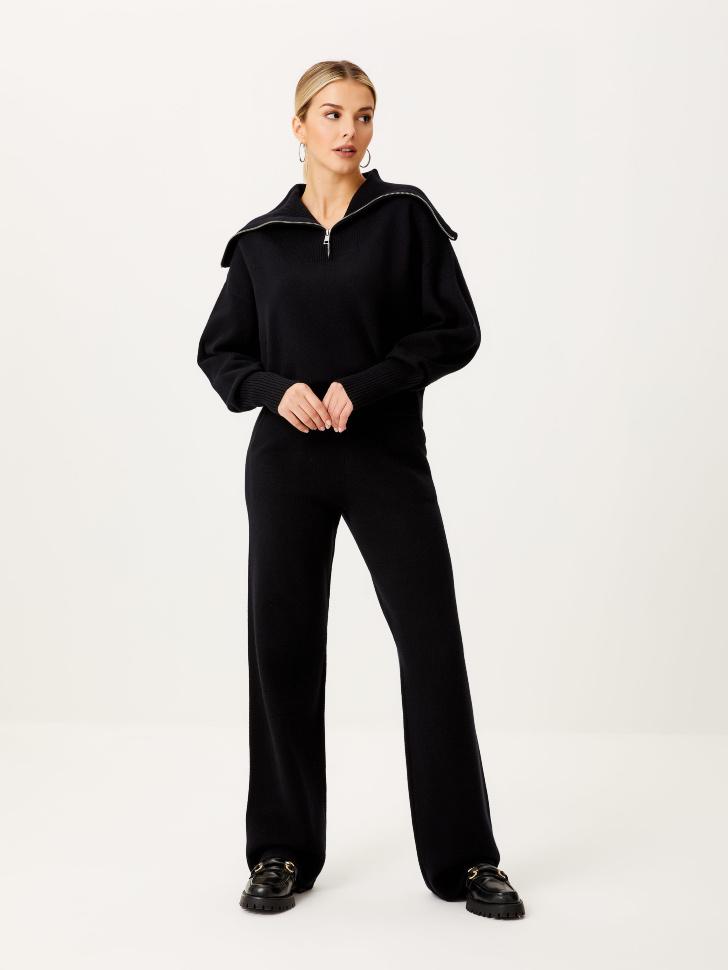 Широкие вязаные брюки (черный, XL)