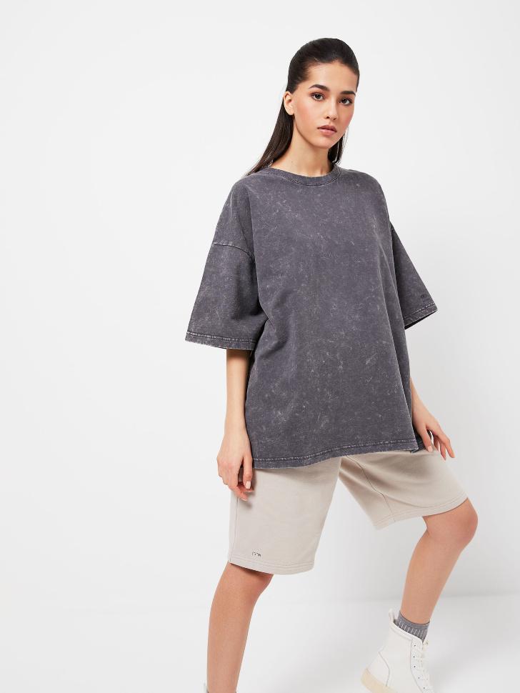 Удлиненная футболка оверсайз (серый, L)