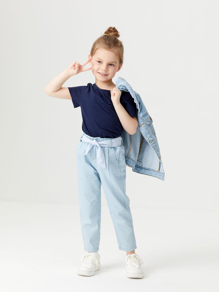 Джинсы с поясом для девочек (голубой, 110/ 5-6 YEARS)