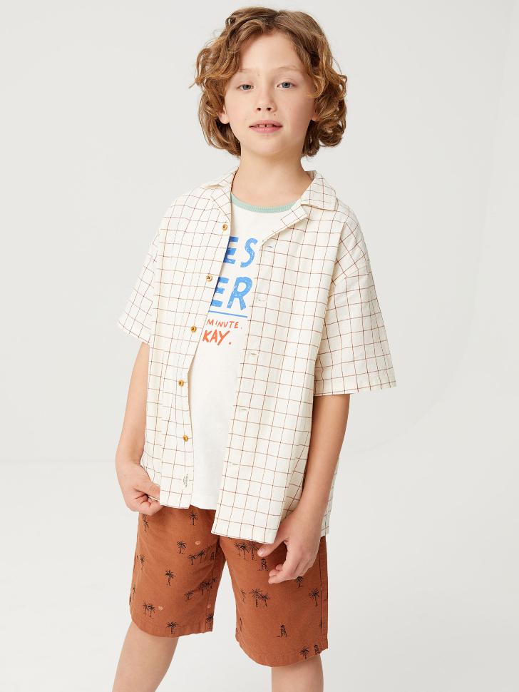 Льняная рубашка в клетку для мальчиков (белый принт, 146/ 11-12 YEARS)