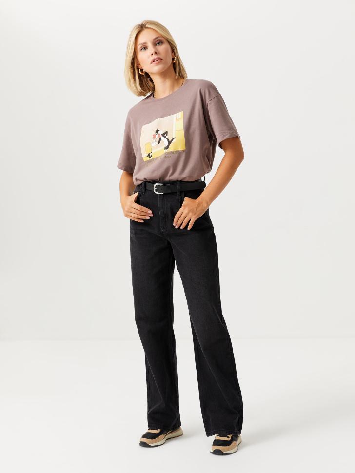Широкие джинсы с защипами (серый, L)