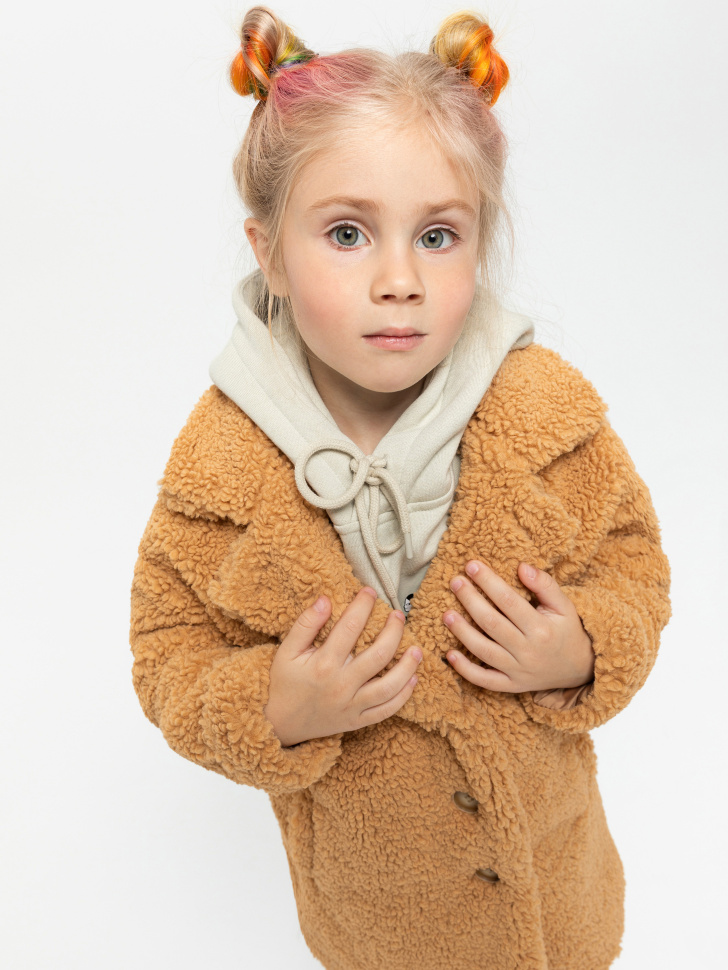 пальто для девочек (бежевый, 98/ 3-4 YEARS)