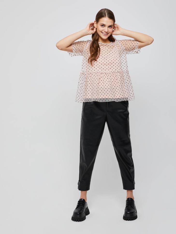Блузка из сетки в горошек (розовый, M)