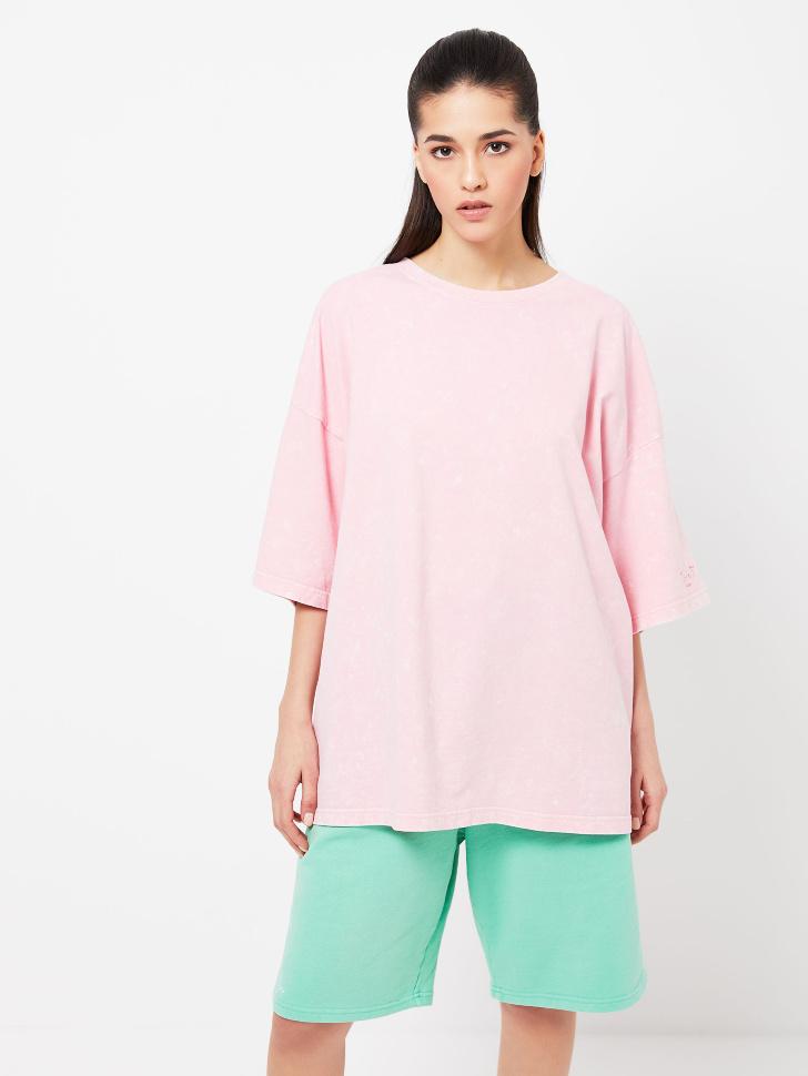Удлиненная футболка оверсайз (розовый, S)