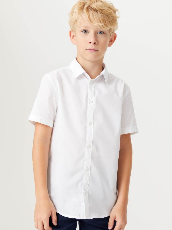 Школьная рубашка с коротким рукавом для мальчиков (белый, 128/ 8-9 YEARS)