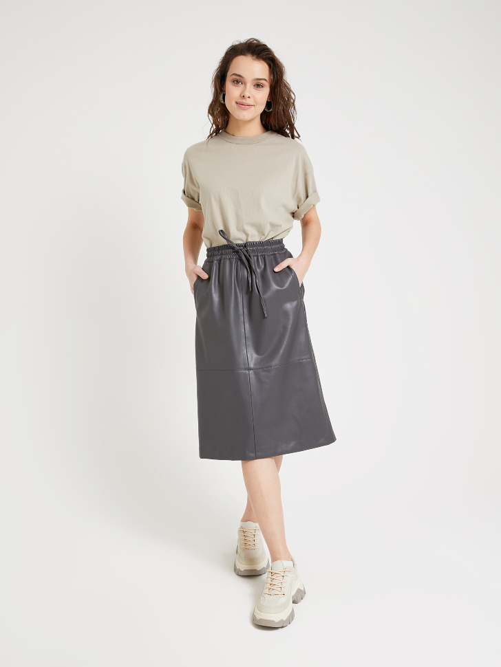юбка из экокожи (серый, XL)