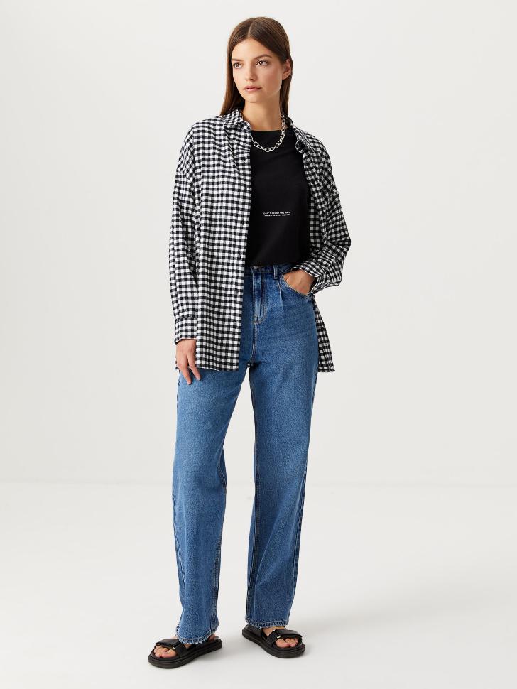 Широкие джинсы с защипами (синий, L)