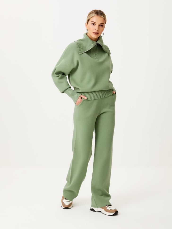Широкие вязаные брюки (зеленый, XL)