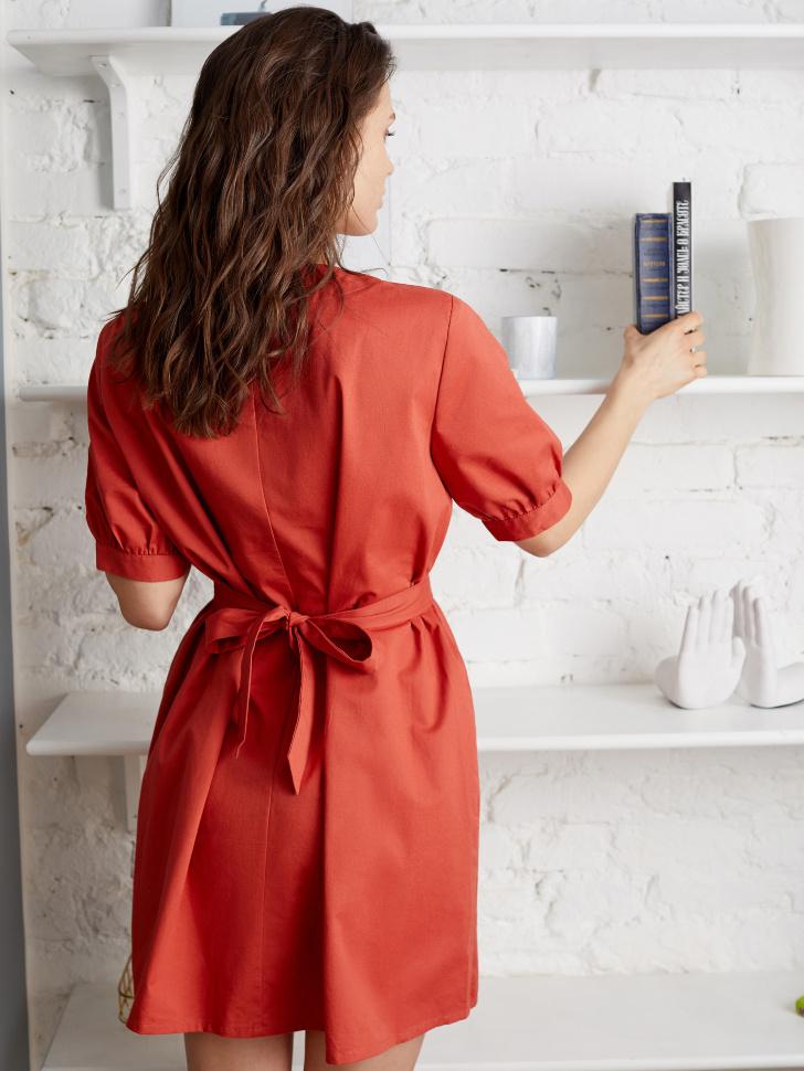 SELA Платье с поясом (коричневый, XS)