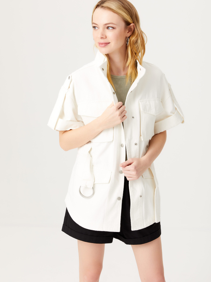 Твиловая куртка в стиле милитари (белый, XS)
