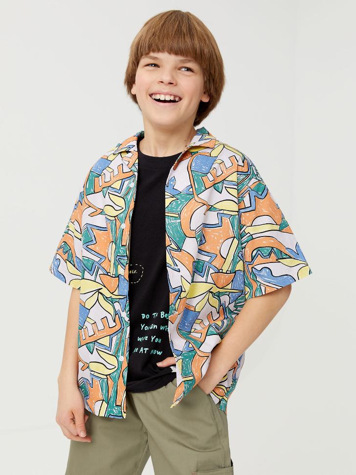 Гавайская рубашка с принтом для мальчиков (синий, 140/ 10-11 YEARS)