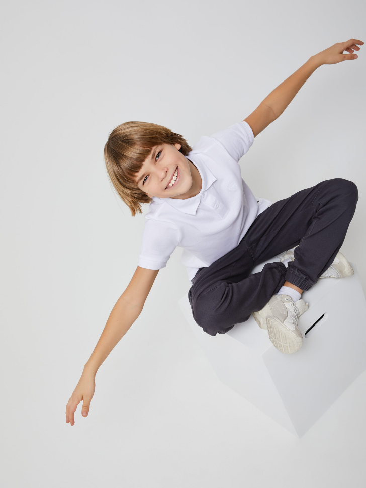 Футболка-поло для мальчиков (белый, 122/ 7-8 YEARS)