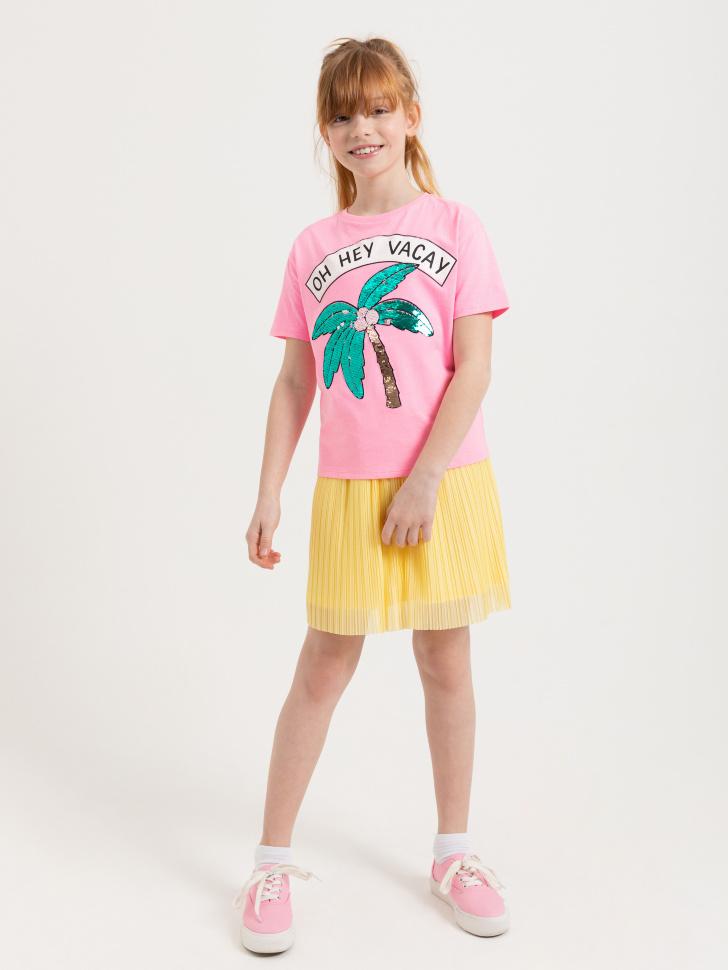 SELA Плиссированная юбка для девочек (желтый, 134/ 9-10 YEARS)