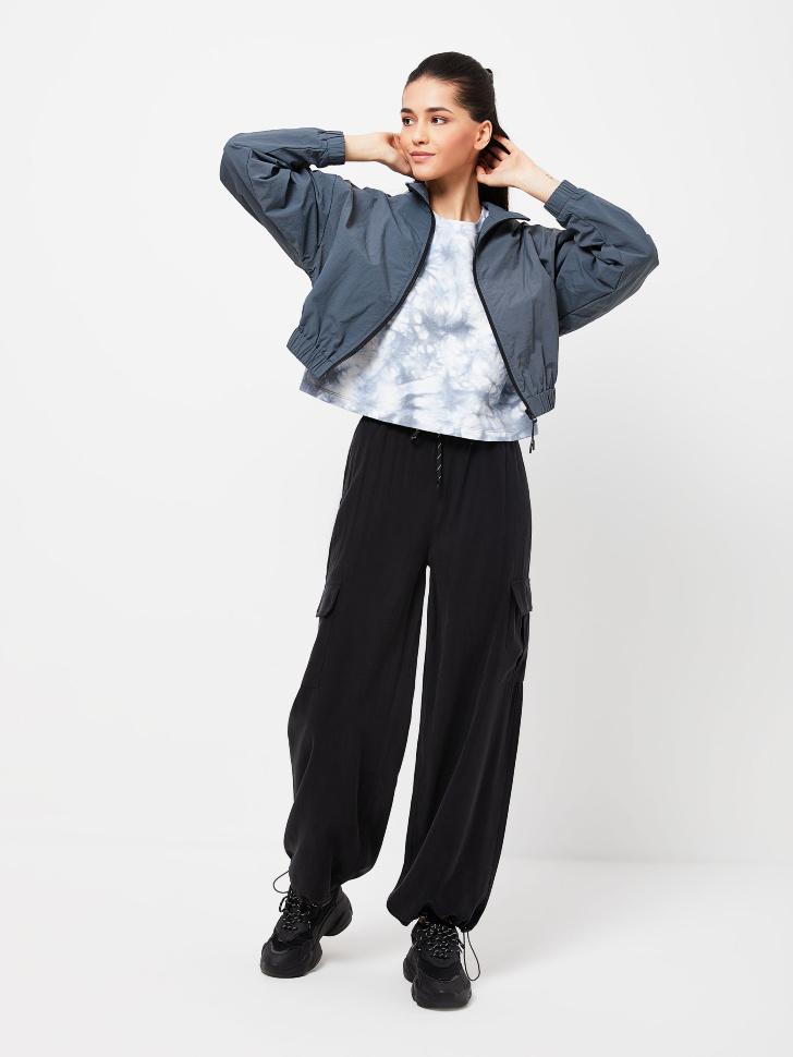 Вискозные брюки-карго (черный, XL)