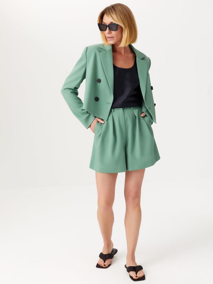 Костюмные шорты с защипами (зеленый, S)